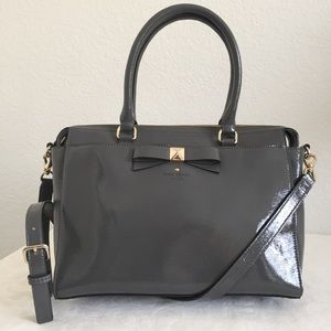 Kate spade gray patent leather bow tote